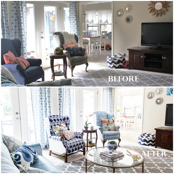 Family Room Refresh Before and After