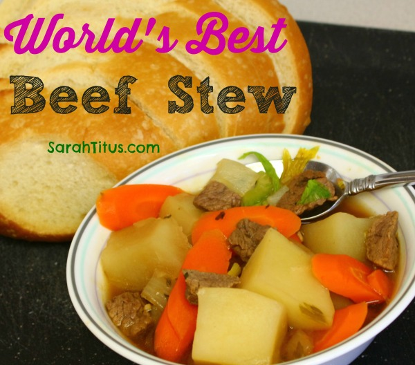 Worlds best beef stew with beef, potatoes, carrots and a side of crusty bread