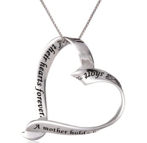 Sterling Silver A Mother Holds Her Child s Hand For A Short While and Their Hearts Forever Ribbon Heart Pendant Necklace 18 Jewelry