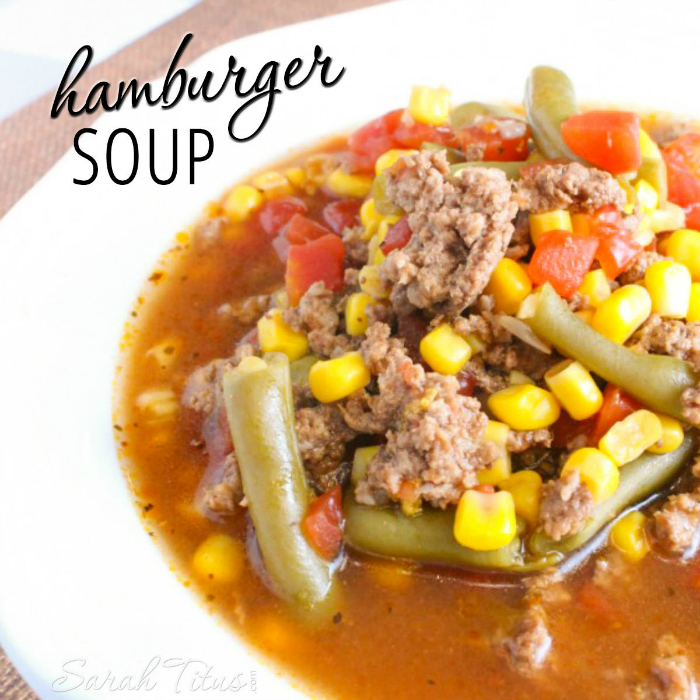 One of our family's favorite go-to meals, this quick & easy hamburger veggie soup is sure to put smiles on faces and warmth in tummies!