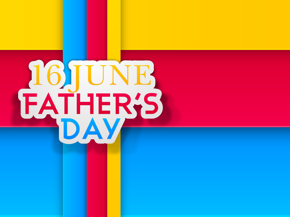 Happy Fathers Day concept with text 16 June on colorful abstract