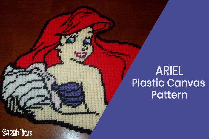 Make a fun and decorative Disney Princess Ariel The Little Mermaid Plastic Canvas Wall Hanging! #LittleMermaid #Wallhanging