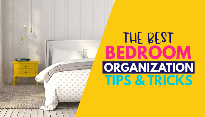 Are you looking to organize your bedroom once and for all? These top bedroom organization tips and ideas are just what you need to declutter and clean your bedroom on a budget! Your closet, wardrobe, drawers, dresser, clothes and more will be super organized with these hacks! #cleaning #storage #spacesaving