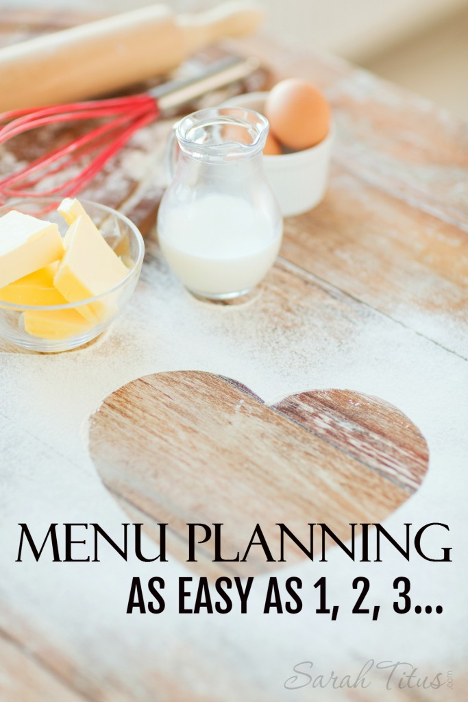 Menu planning as easy as 1, 2, 3 - Menu planning can be a difficult thing...unless you keep these things in mind.