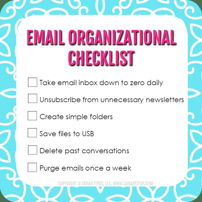 Email Organizational Checklist