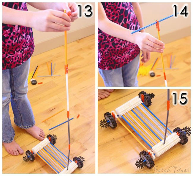 Adding the handle rod to the knex scooter