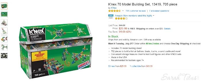 Amazon.com K nex 70 Model Building Set 13419 705 piece Toys Games