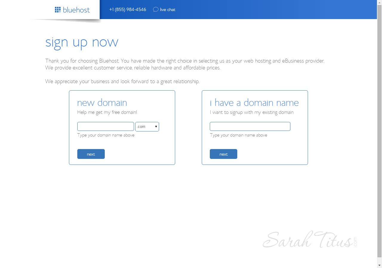 Bluehost web hosting sign up now page screenshot