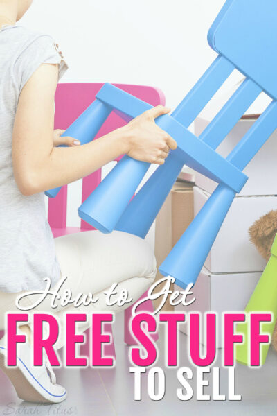 There are a lot of places to get free stuff to sell. Here's how to get free stuff to sell. I did it as a single mom as a way to make a living to be able to stay home with my kids!