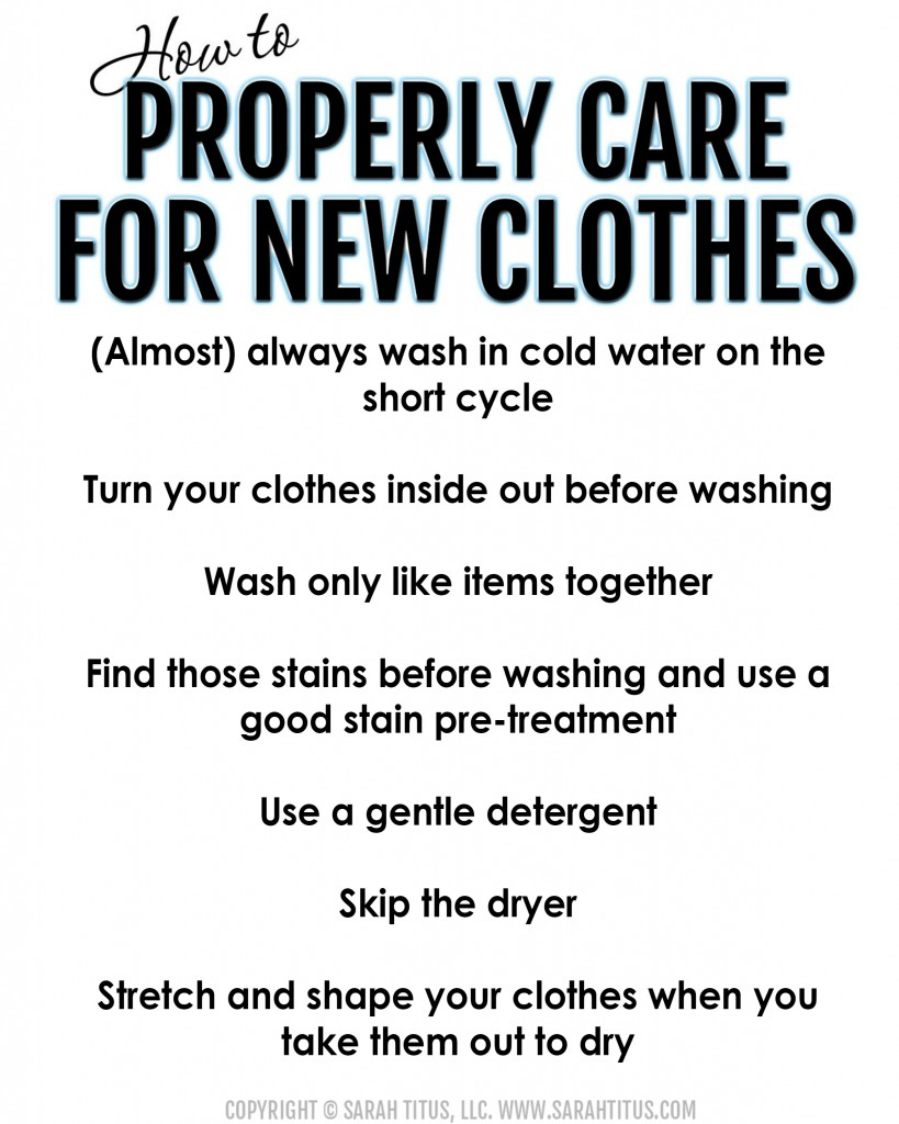 How to properly care for new clothes printable
