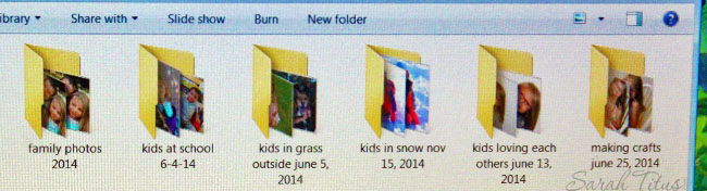 Screenshot of folders labeled with both kids and what they were doing