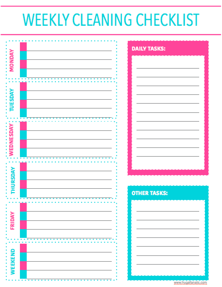 This free printable weekly cleaning checklist will get you organized and decluttered super quick!