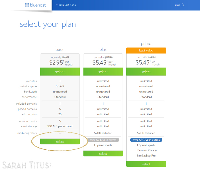 "Bluehost ""select your plan"" page screenshot"