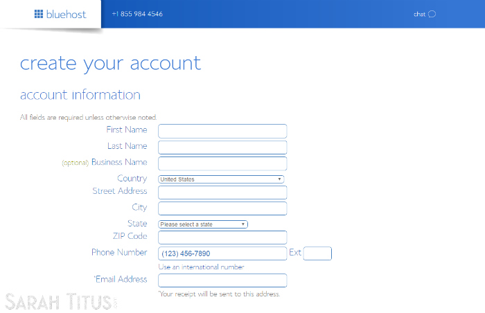 Bluehost create your account page screenshot