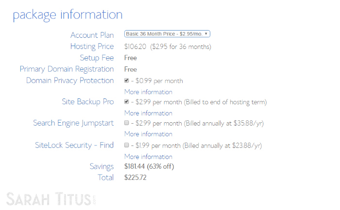 Bluehost web hosting package information page screenshot