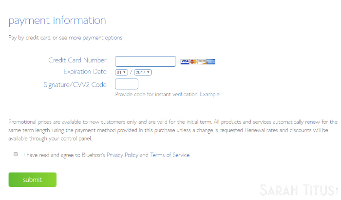 Bluehost web hosting payment information page screenshot