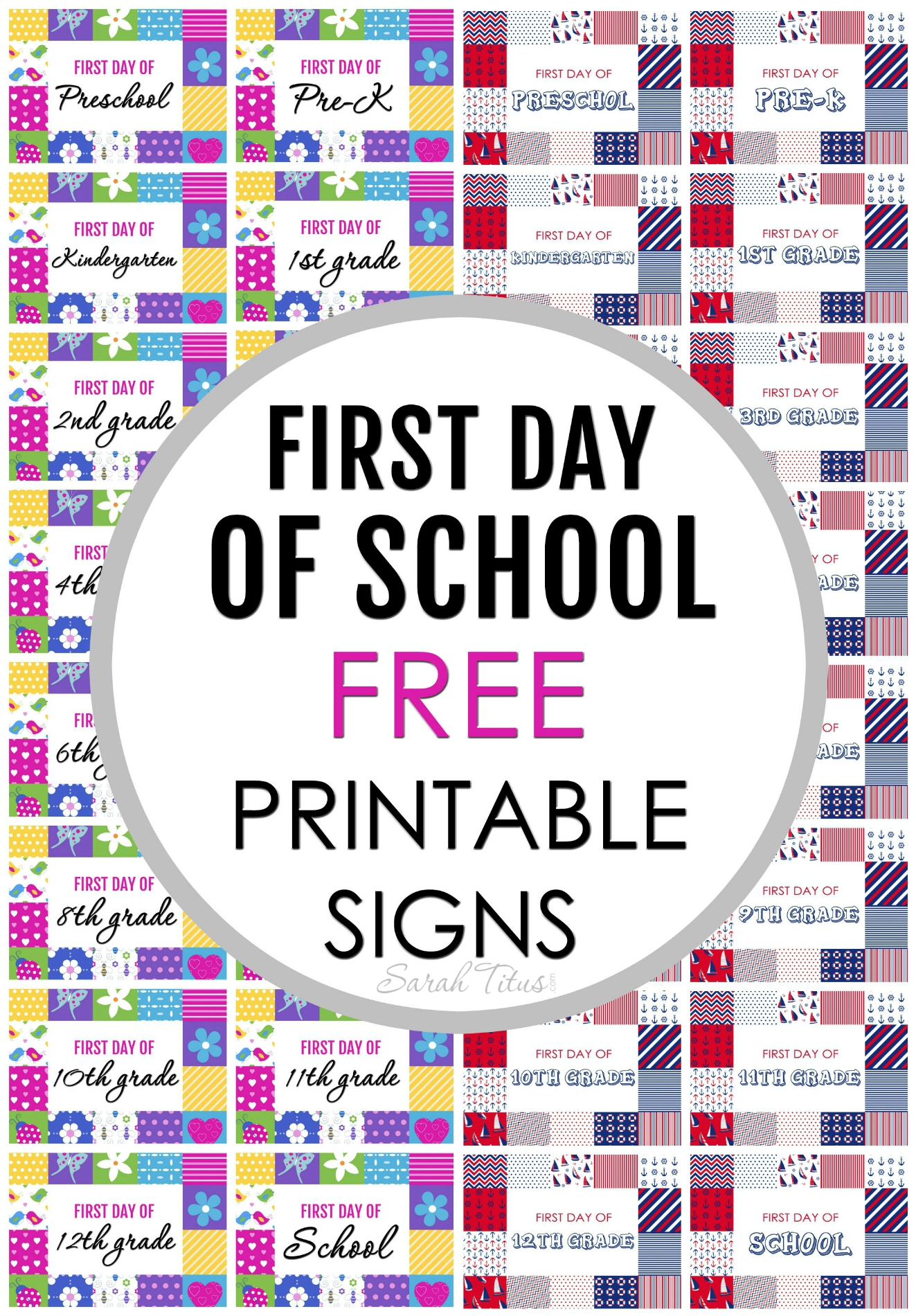 Maybe you're sending your child off to school for the first time to Kindergarten or they are in 6th grade and you're scratching your head, wondering where the time went. That's why I created these free first day of school printable signs for you!