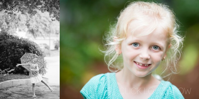 Taking pictures of a little girl on a cloudy day versus a bright sunny day