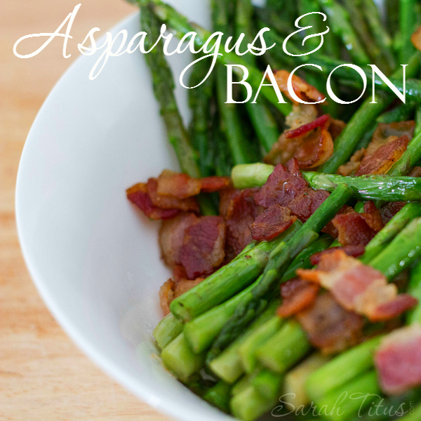 Asparagus and Bacon has to be the best vegetable dish by far. Want to get your kids to eat their veggies? Get them used to the flavor with bacon! YUM!