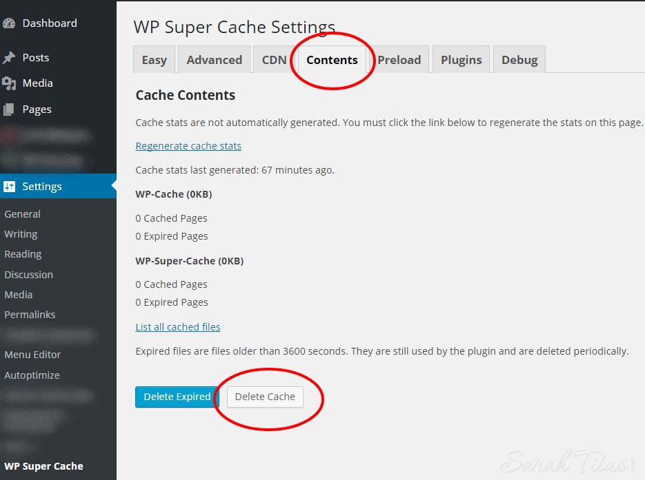 WP Super Cache ‹ Sarah Titus — WordPress- how to delete cache