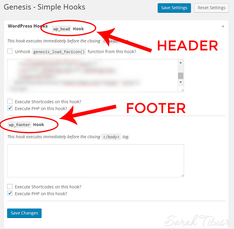 Genesis Simple Hooks screenshot of where to add header and footer scripts