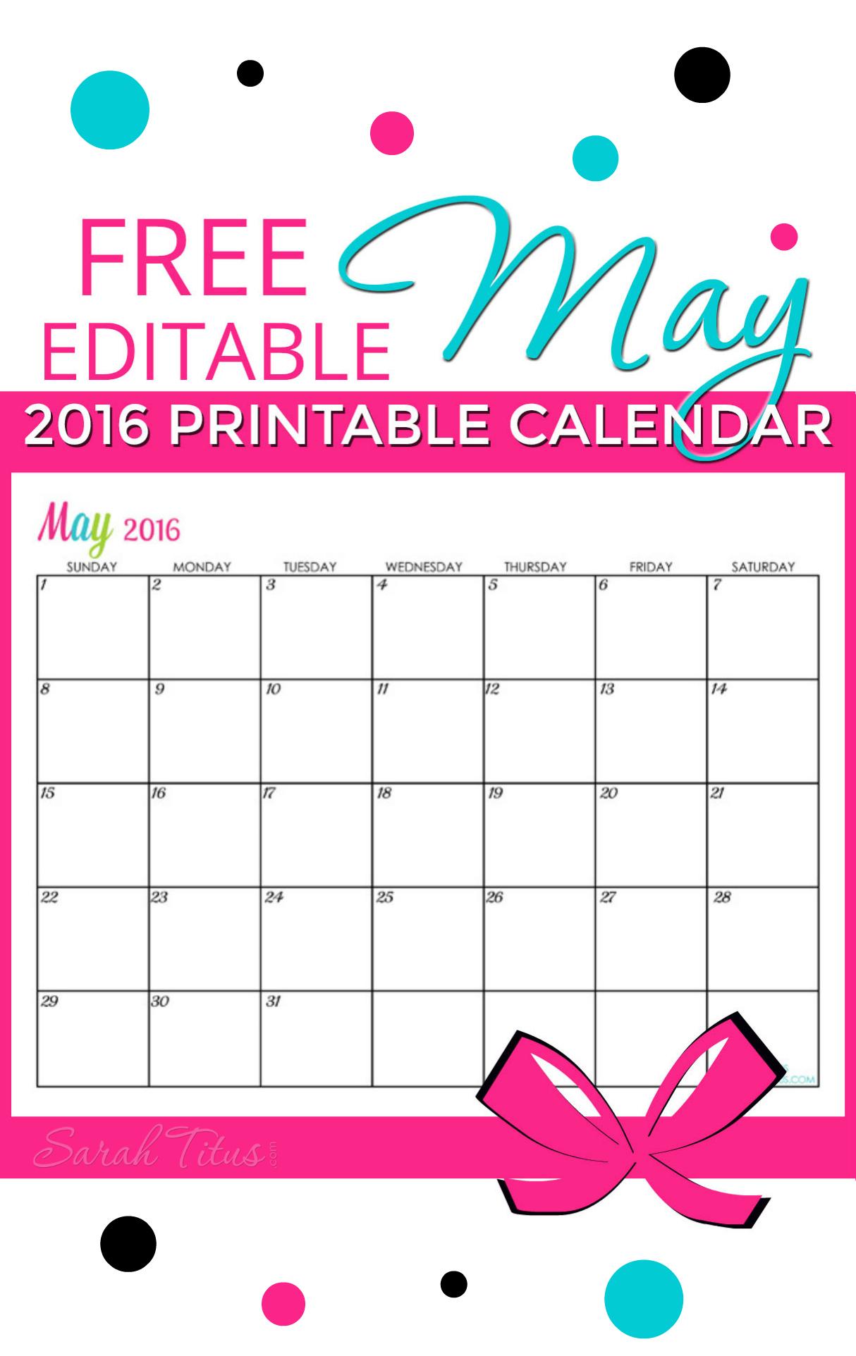 Free Blank Online Calendar May