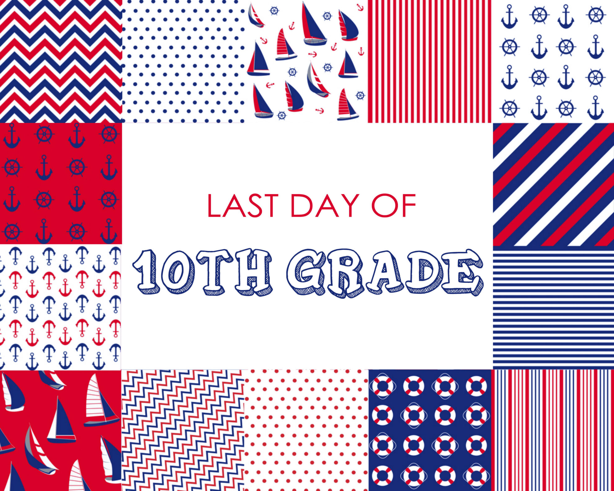 Colorful Boy Last Day of 10th Grade Free Printable