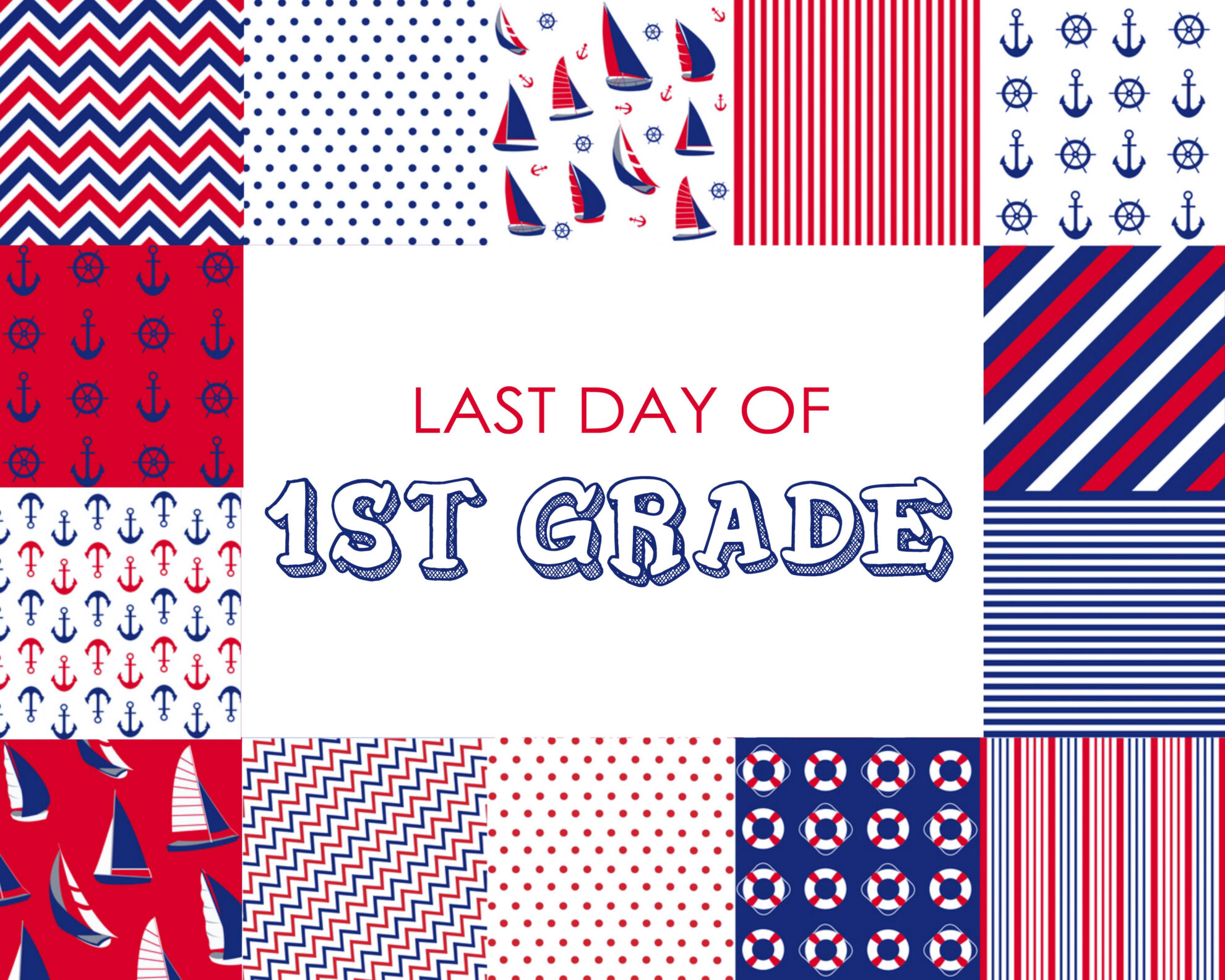 Colorful Boy Last Day of 1st Grade Free Printable