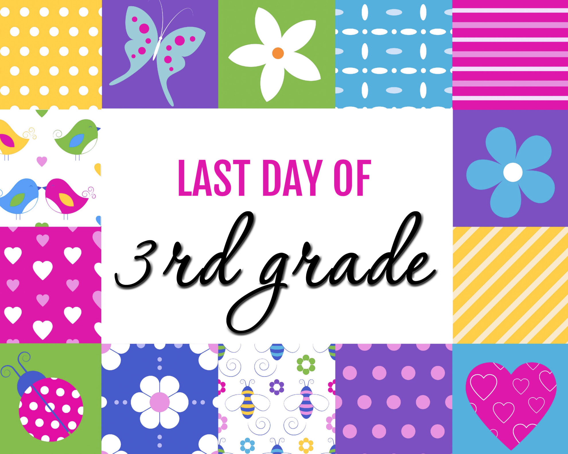 Colorful Girl Last Day of 3rd grade Free Printable