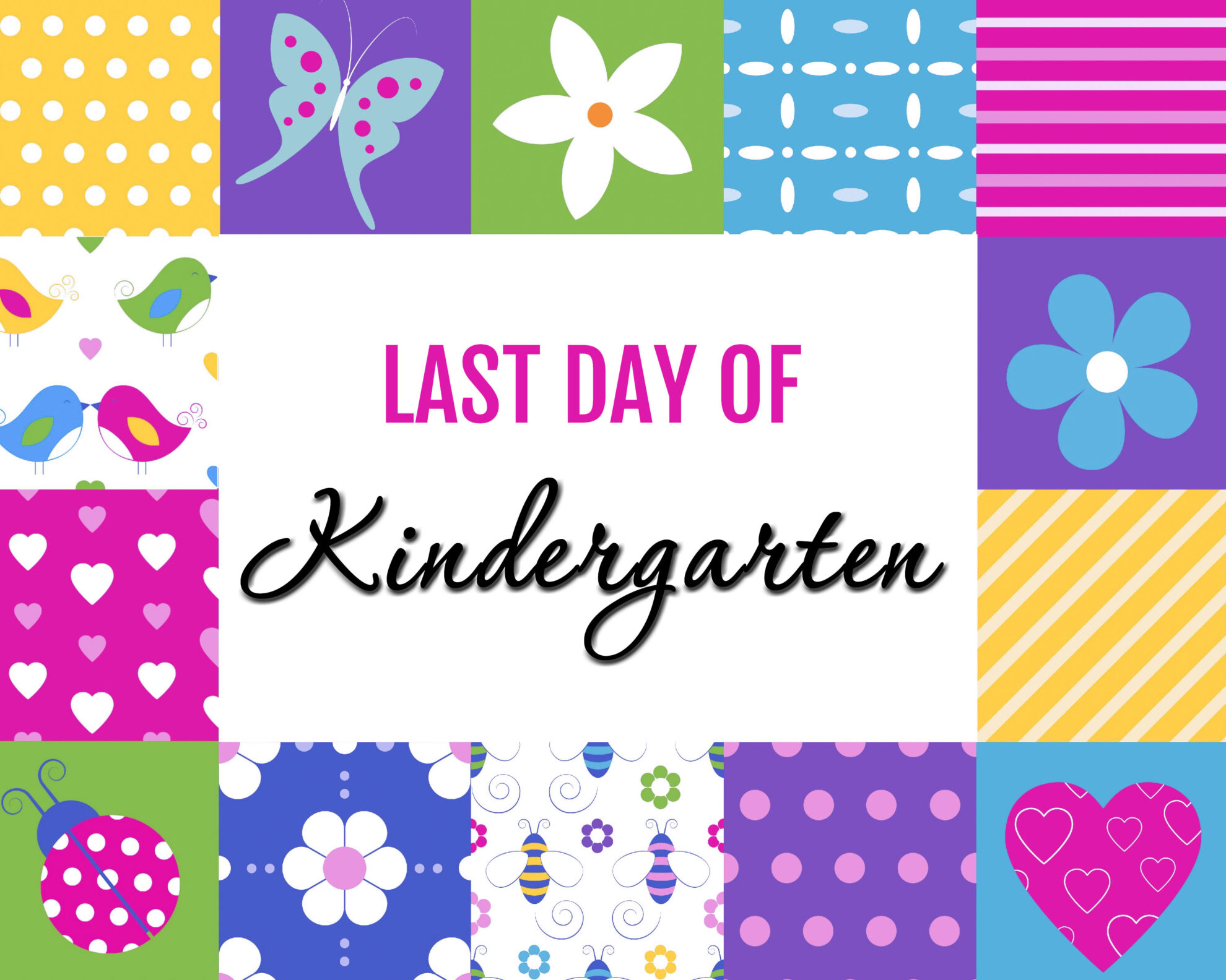 Colorful Girl Last Day of Kindergarten Free Printables