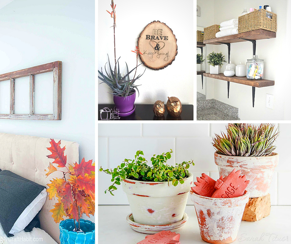 DIY Rustic Decor Projects collage with decorative shelves and storage