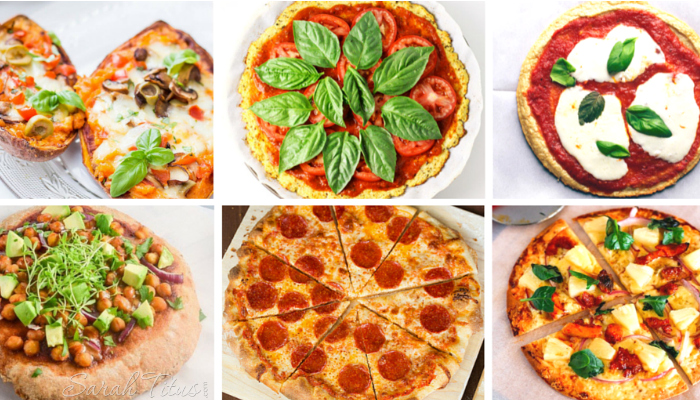 Collage of different types of delicious looking pizzas