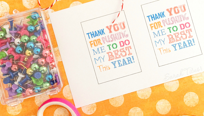 Teacher appreciation free printable with scissors and colorful pushpins