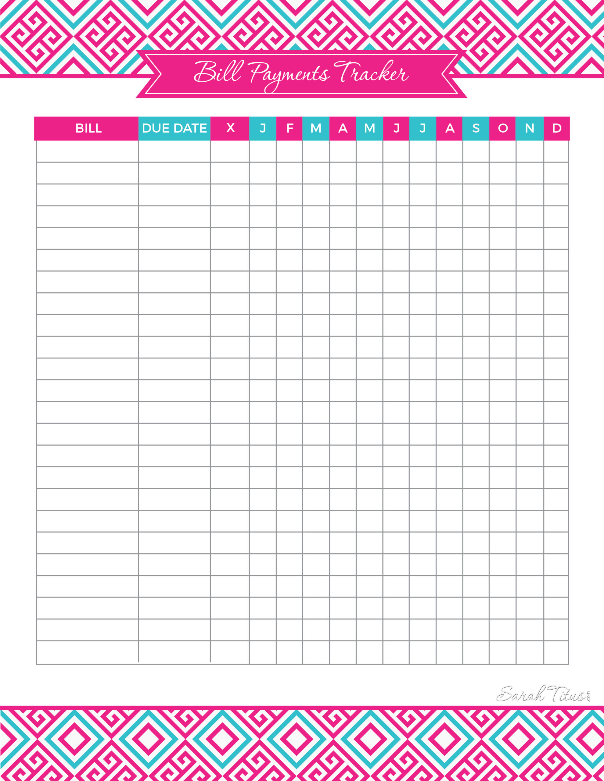 Bill Payments Tracker Printable