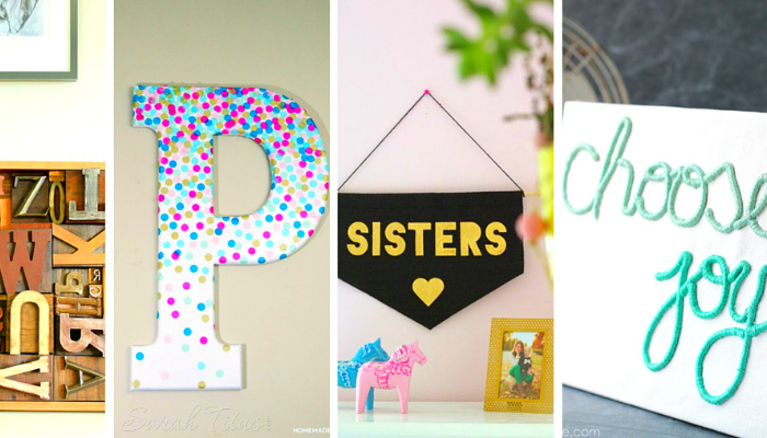 A collage of pretty DIY typography decor for your home