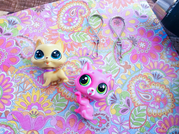 Supplies for DIY Littlest Pet Shop Keychains / Zipper Pulls with hooks and loops, and Littlest Pet Shop Characters