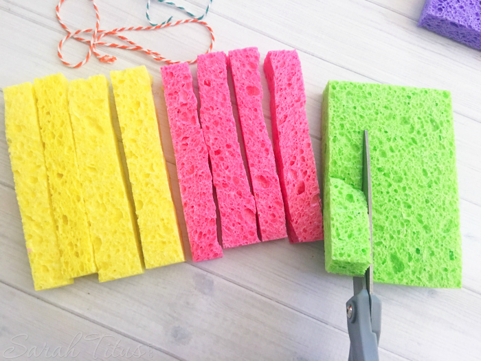 Cutting sponges for sponge bombs in to long strips