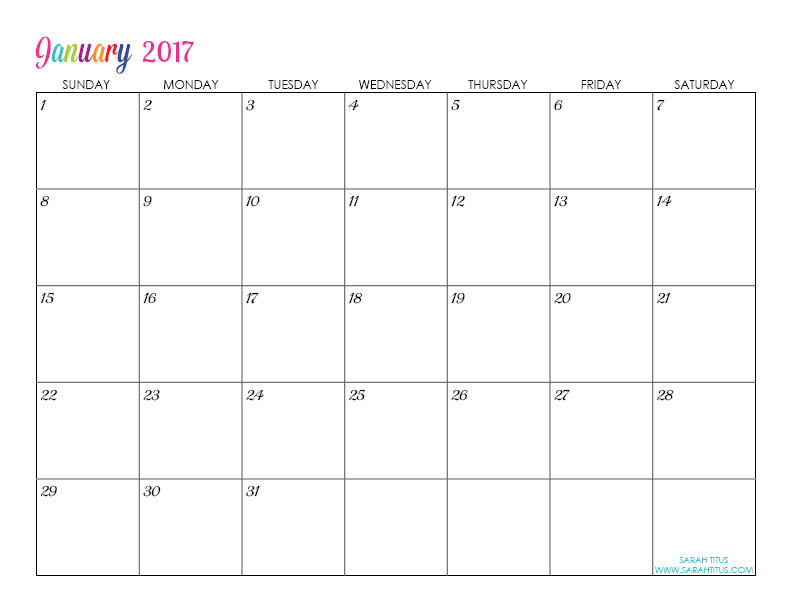 January Custom Editable Free Printable 2017 Calendar
