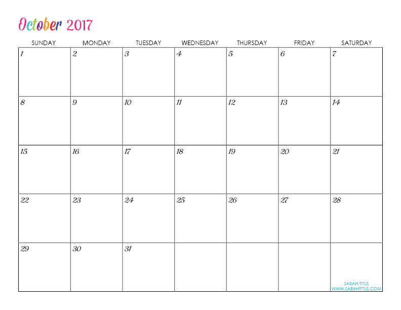 October Custom Editable Free Printable 2017 Calendar
