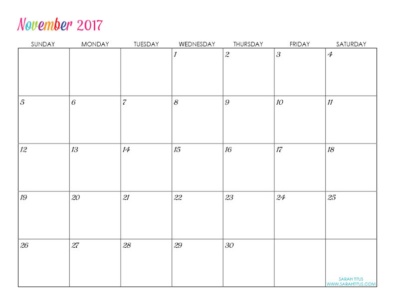November Custom Editable Free Printable 2017 Calendar