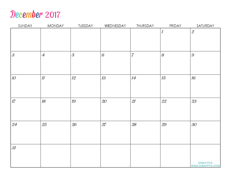 December Custom Editable Free Printable 2017 Calendar