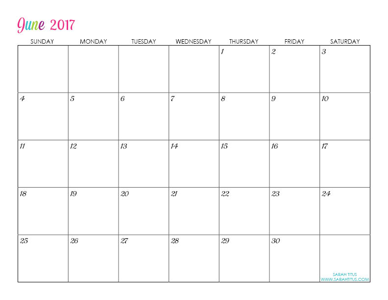 June Custom Editable Free Printable 2017 Calendar