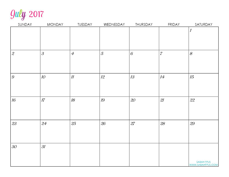July Custom Editable Free Printable 2017 Calendar