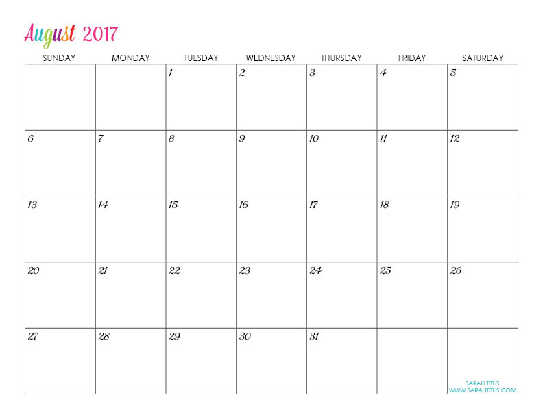 August Custom Editable Free Printable 2017 Calendar