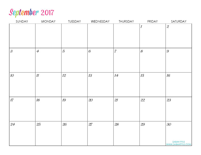 September Custom Editable Free Printable 2017 Calendar