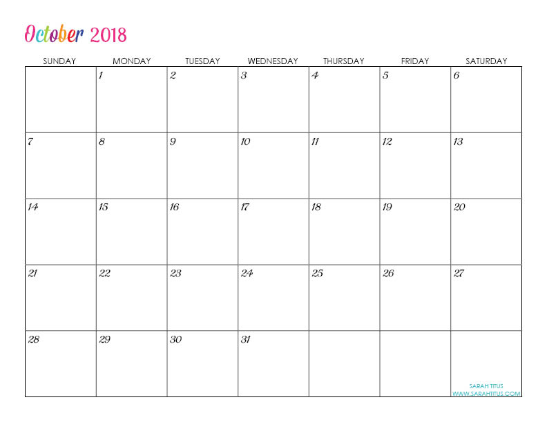 October Custom Editable Free Printable 2018 Calendar