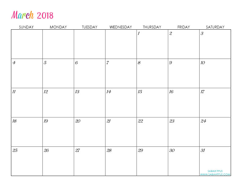 March Custom Editable Free Printable 2018 Calendar