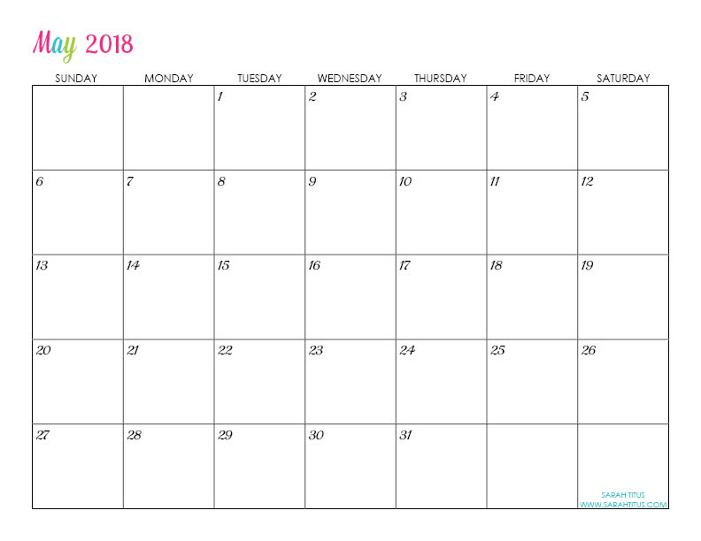 May Custom Editable Free Printable 2018 Calendar
