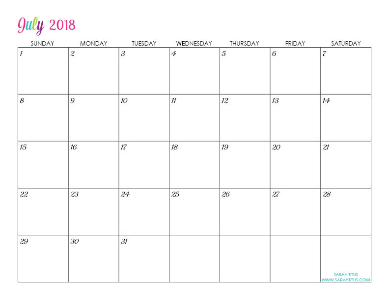 July Custom Editable Free Printable 2018 Calendar