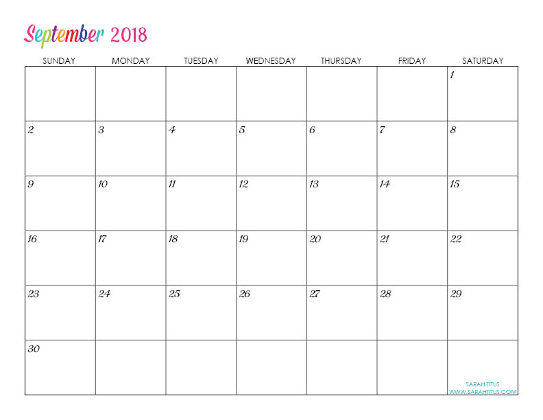 September Custom Editable Free Printable 2018 Calendar
